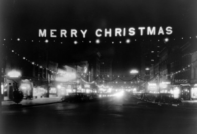 Fayetteville St, Raleigh, NC Christmas Decorations, 1938_web