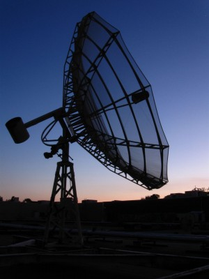 This rusted satellite stands watch over every sunrise and sunset that comes to the city.