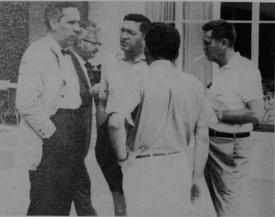 Dean Kamphoefner (second from left) and Milton Small (center, facing camera)