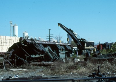 Overturned millitary vehicles